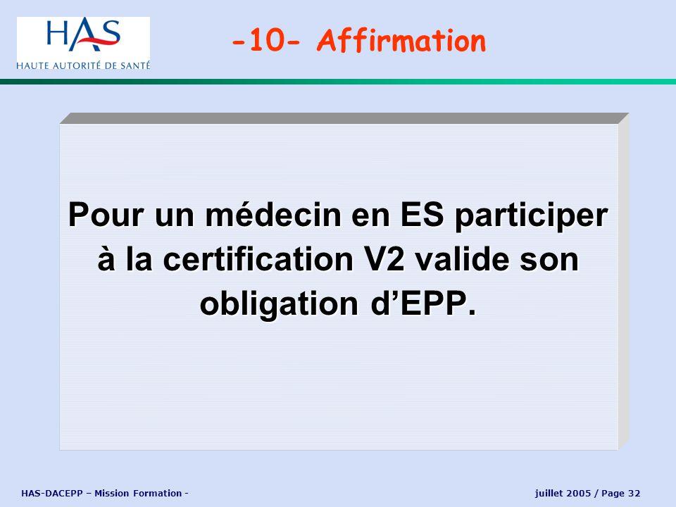 -10- Affirmation Pour un médecin en ES participer à la certification V2 valide son obligation d'EPP.