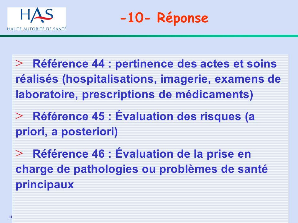 -10- Réponse Référence 44 : pertinence des actes et soins réalisés (hospitalisations, imagerie, examens de laboratoire, prescriptions de médicaments)