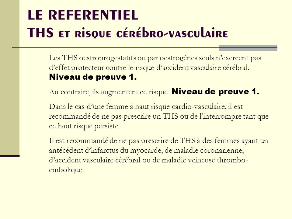 LE REFERENTIEL THS et risque cérébro-vasculaire