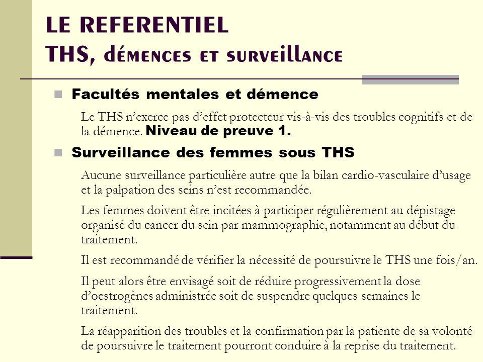 LE REFERENTIEL THS, démences et surveillance