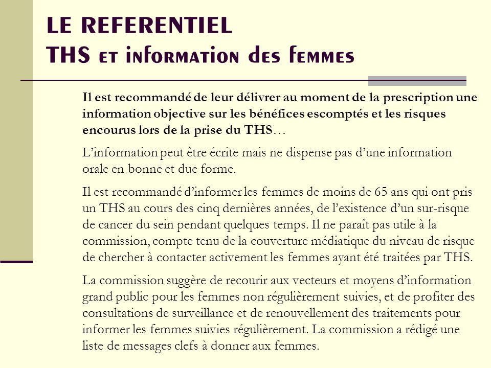 LE REFERENTIEL THS et information des femmes