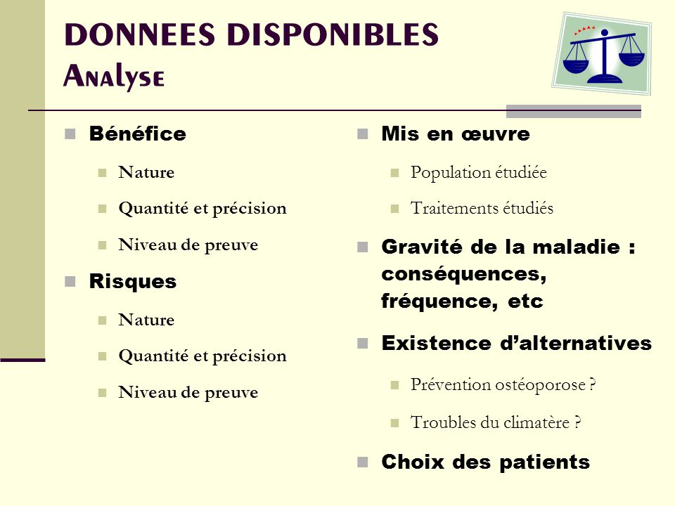 DONNEES DISPONIBLES Analyse