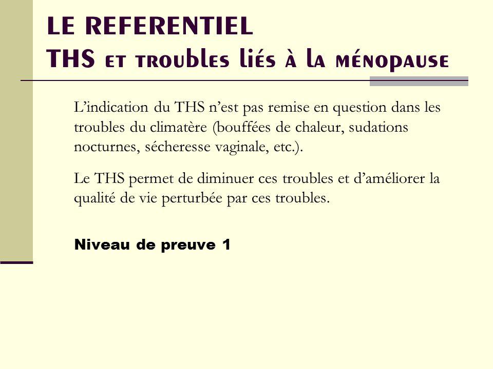 LE REFERENTIEL THS et troubles liés à la ménopause