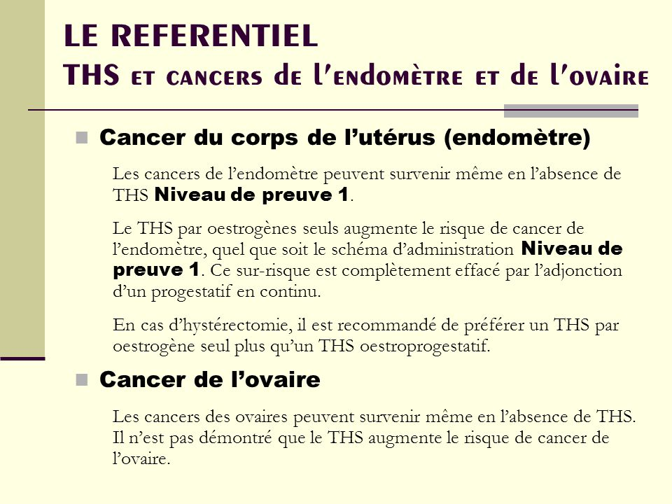 LE REFERENTIEL THS et cancers de l'endomètre et de l'ovaire