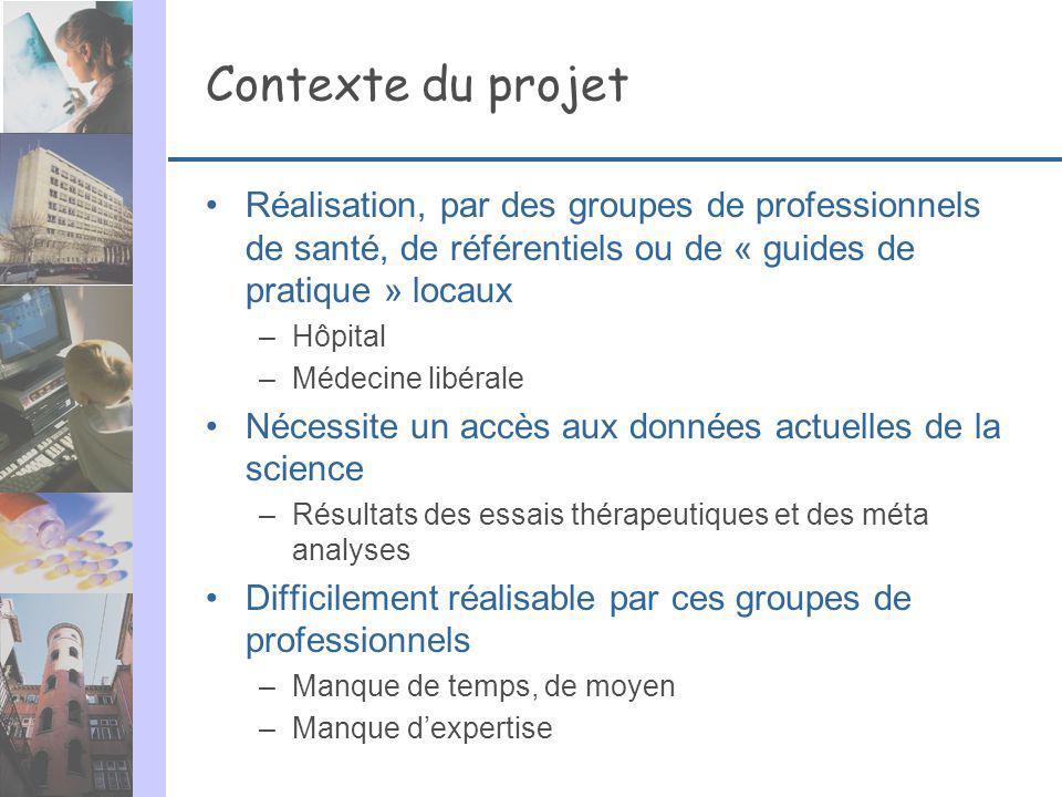 Contexte du projet Réalisation, par des groupes de professionnels de santé, de référentiels ou de « guides de pratique » locaux.