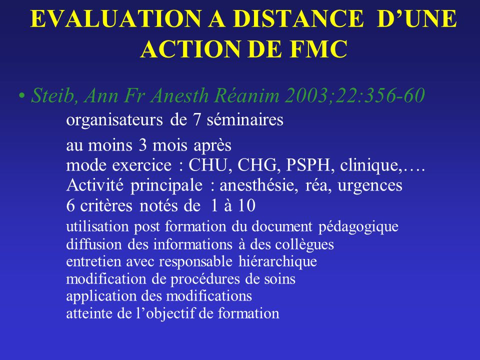 EVALUATION A DISTANCE D'UNE ACTION DE FMC
