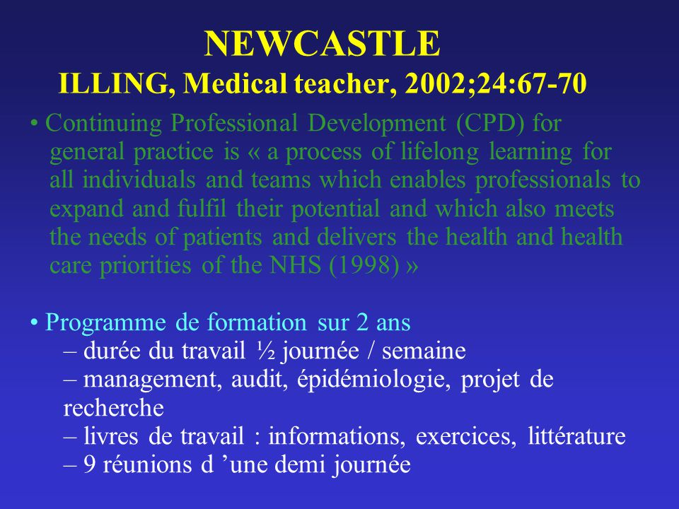 NEWCASTLE ILLING, Medical teacher, 2002;24:67-70