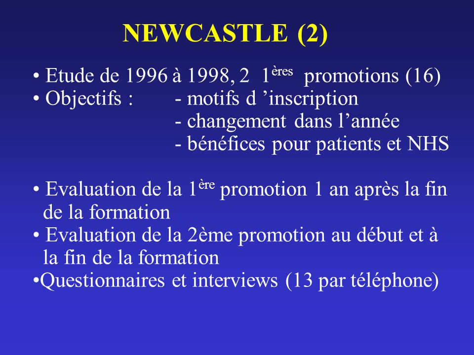 NEWCASTLE (2) Etude de 1996 à 1998, 2 1ères promotions (16)