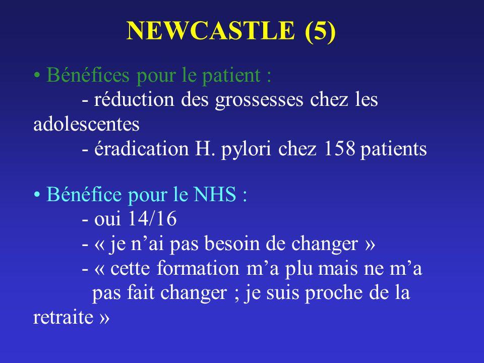 NEWCASTLE (5) Bénéfices pour le patient : - réduction des grossesses chez les adolescentes - éradication H. pylori chez 158 patients.