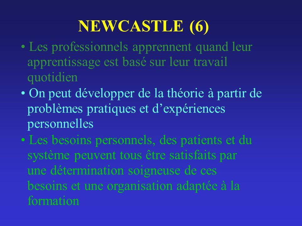 NEWCASTLE (6) Les professionnels apprennent quand leur apprentissage est basé sur leur travail quotidien.