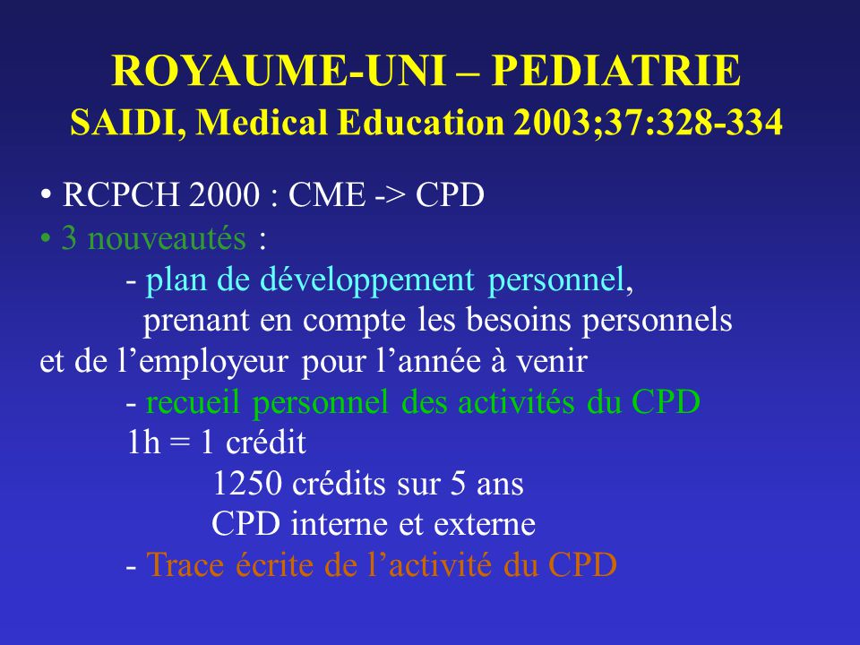 ROYAUME-UNI – PEDIATRIE SAIDI, Medical Education 2003;37:328-334