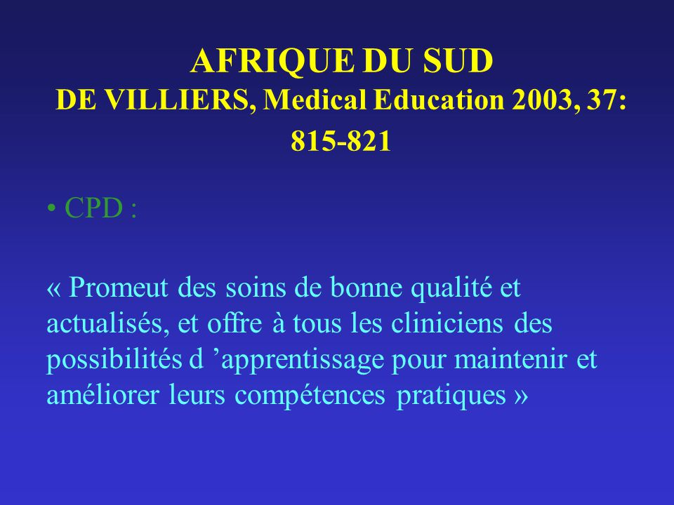 AFRIQUE DU SUD DE VILLIERS, Medical Education 2003, 37: 815-821