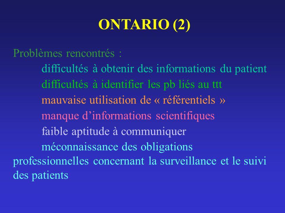 ONTARIO (2) Problèmes rencontrés :