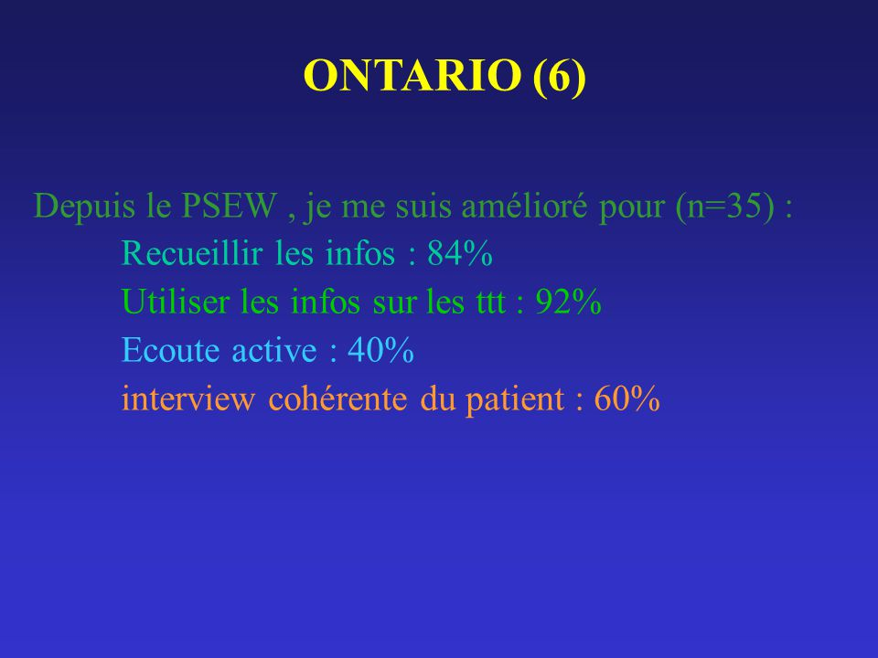 ONTARIO (6) Depuis le PSEW , je me suis amélioré pour (n=35) :