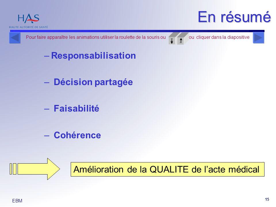 En résumé Responsabilisation Décision partagée Faisabilité Cohérence