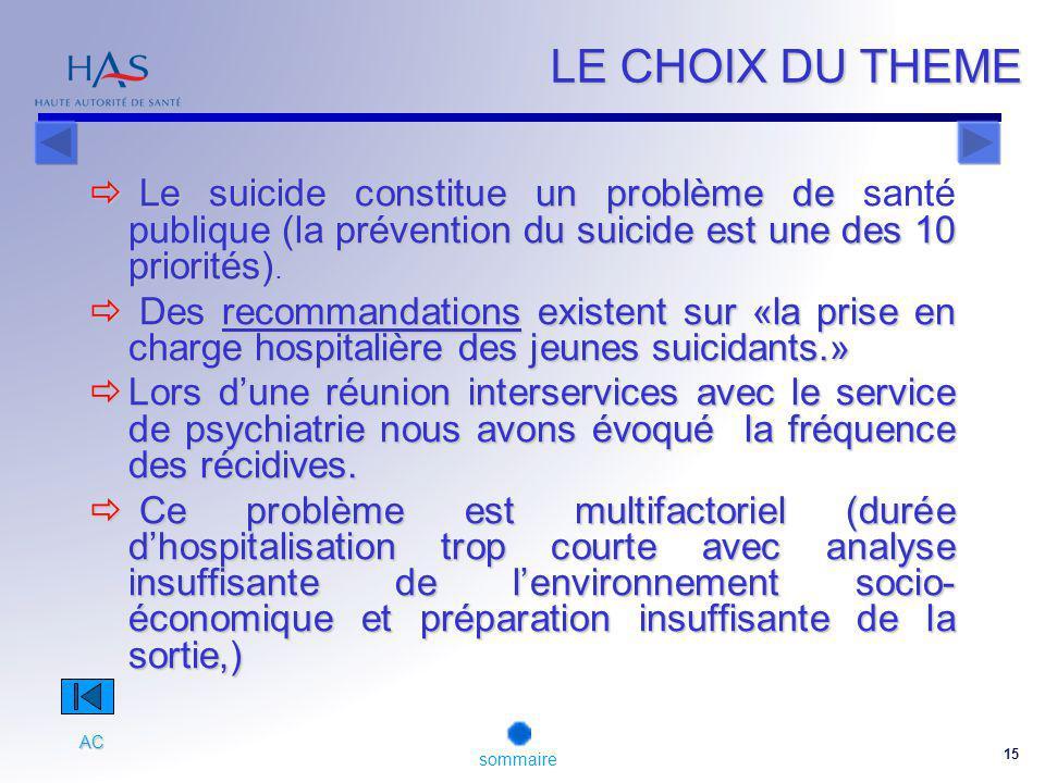 LE CHOIX DU THEME Le suicide constitue un problème de santé publique (la prévention du suicide est une des 10 priorités).