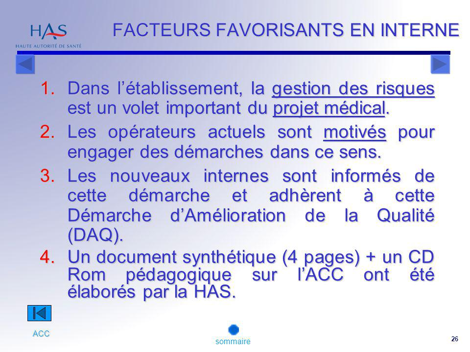 FACTEURS FAVORISANTS EN INTERNE