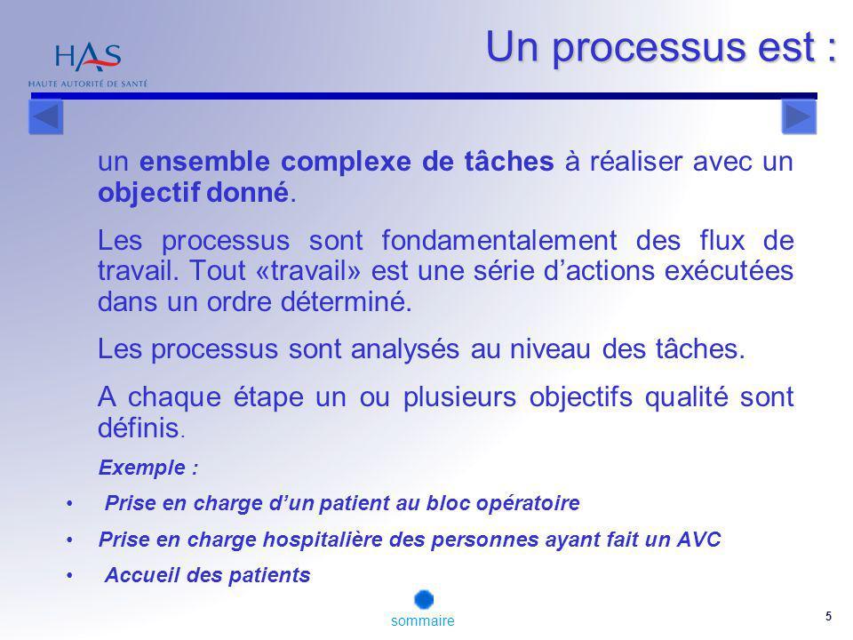 Un processus est : Les processus sont analysés au niveau des tâches.