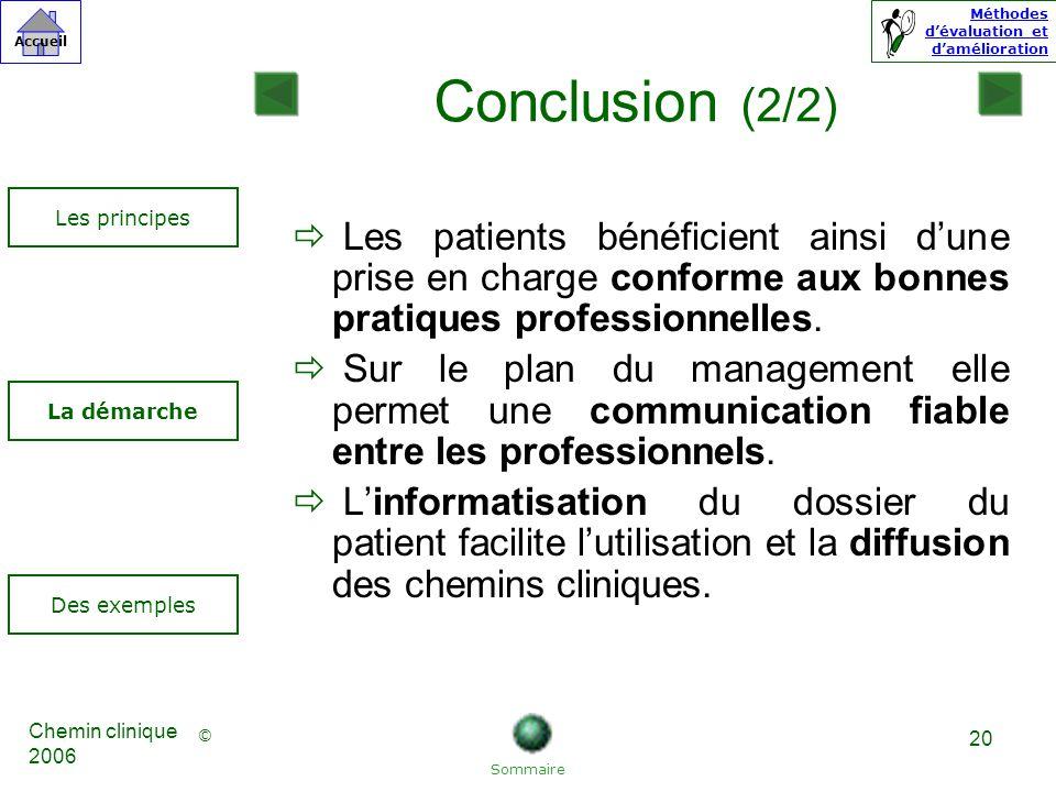 Conclusion (2/2) Les principes. Les patients bénéficient ainsi d'une prise en charge conforme aux bonnes pratiques professionnelles.