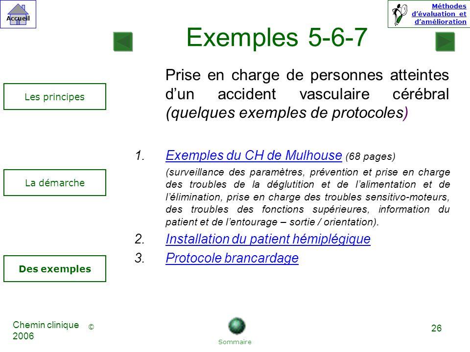 Exemples 5-6-7 Prise en charge de personnes atteintes d'un accident vasculaire cérébral (quelques exemples de protocoles)