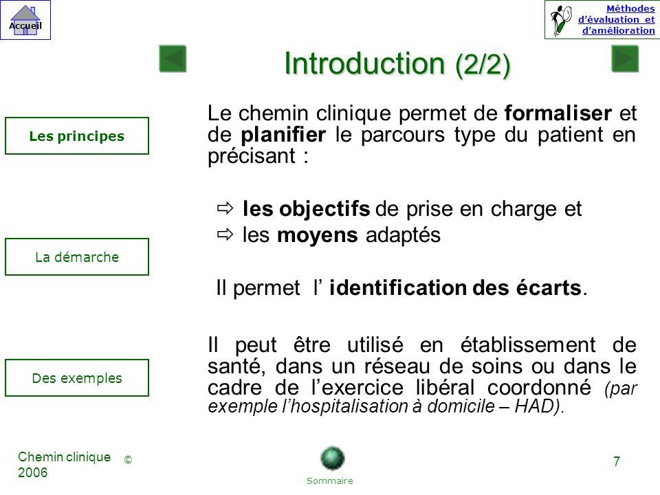 Introduction (2/2) Le chemin clinique permet de formaliser et de planifier le parcours type du patient en précisant :