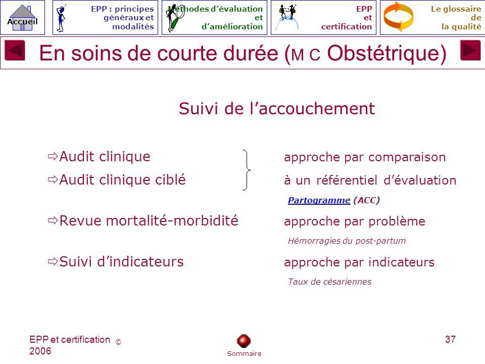 En soins de courte durée (M C Obstétrique)