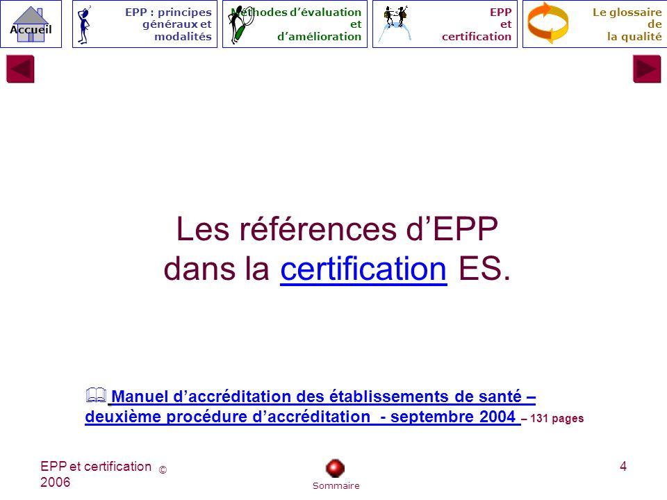Les références d'EPP dans la certification ES.