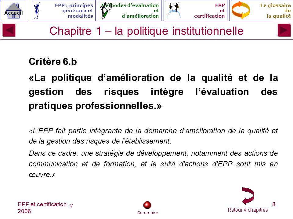 Chapitre 1 – la politique institutionnelle