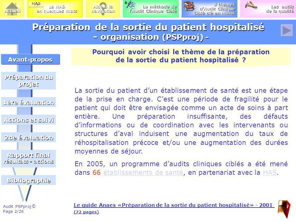 Préparation de la sortie du patient hospitalisé - organisation (PSPproj) -