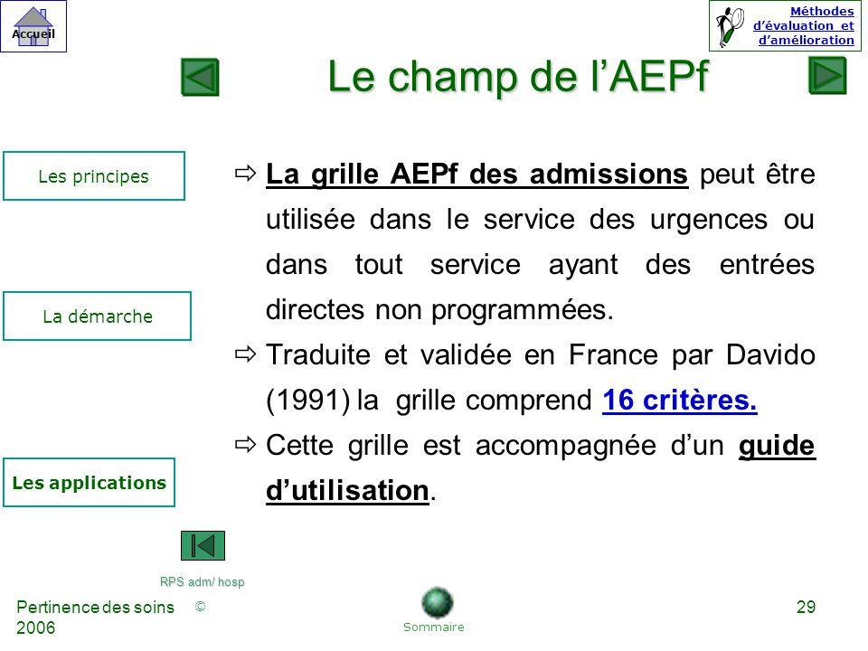 Le champ de l'AEPf