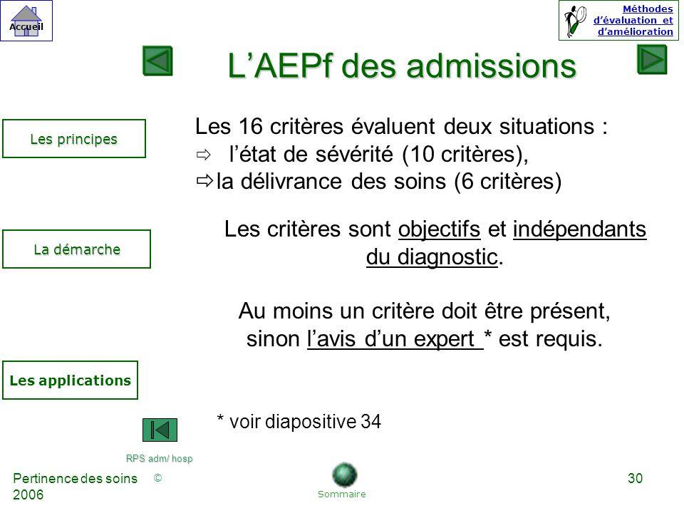 L'AEPf des admissions Les 16 critères évaluent deux situations :