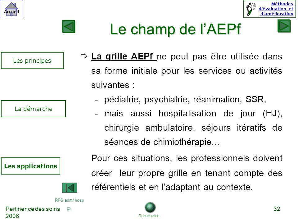 Le champ de l'AEPf La grille AEPf ne peut pas être utilisée dans sa forme initiale pour les services ou activités suivantes :