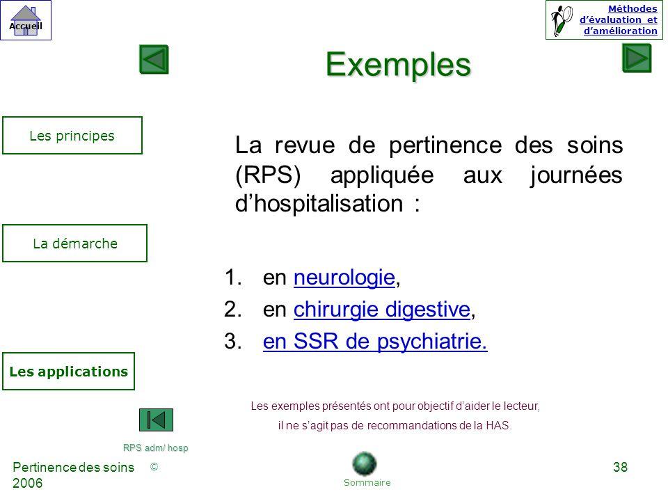 Exemples Les principes. La revue de pertinence des soins (RPS) appliquée aux journées d'hospitalisation :
