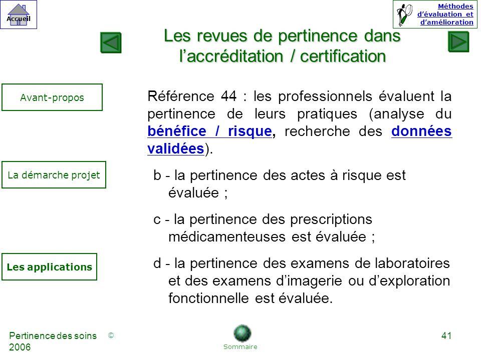 Les revues de pertinence dans l'accréditation / certification