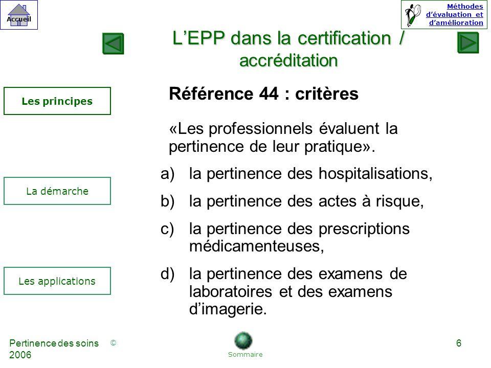 L'EPP dans la certification / accréditation