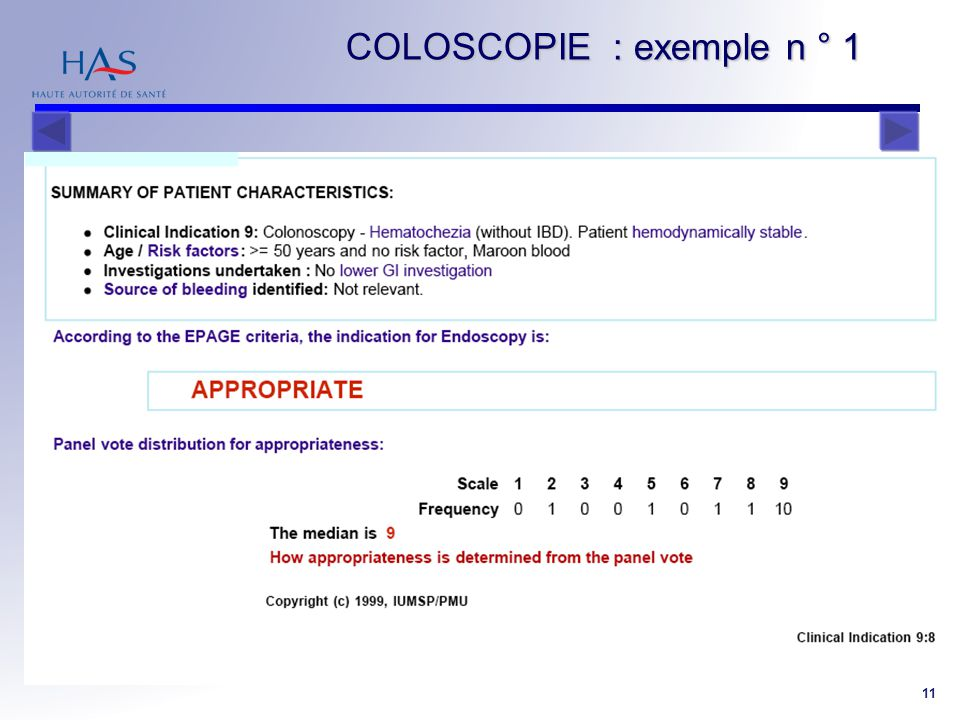 COLOSCOPIE : exemple n ° 1