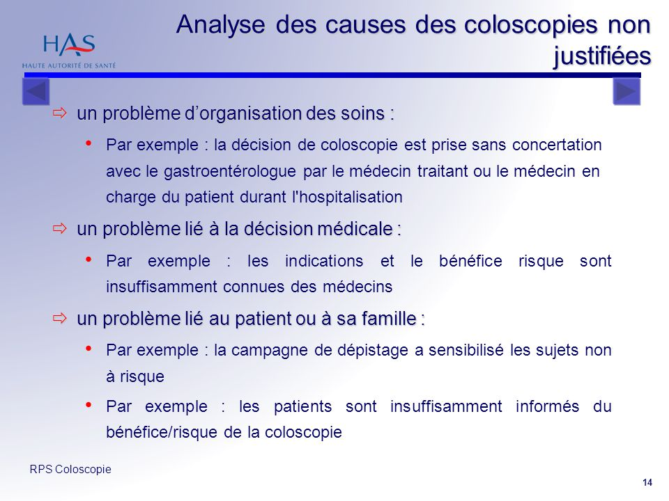 Analyse des causes des coloscopies non justifiées