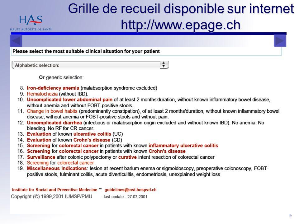 Grille de recueil disponible sur internet http://www.epage.ch