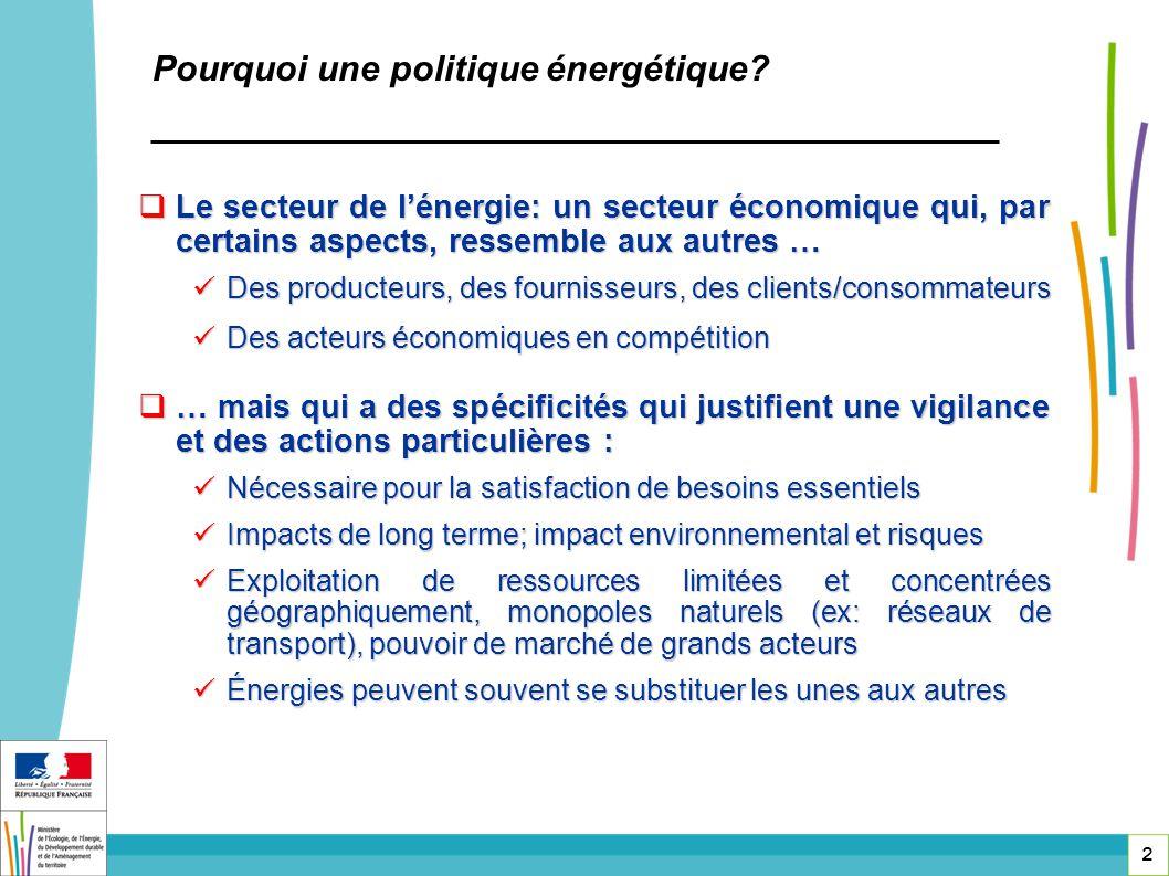 Pourquoi une politique énergétique