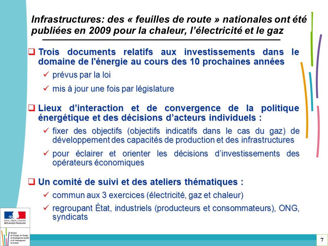 Infrastructures: des « feuilles de route » nationales ont été publiées en 2009 pour la chaleur, l'électricité et le gaz