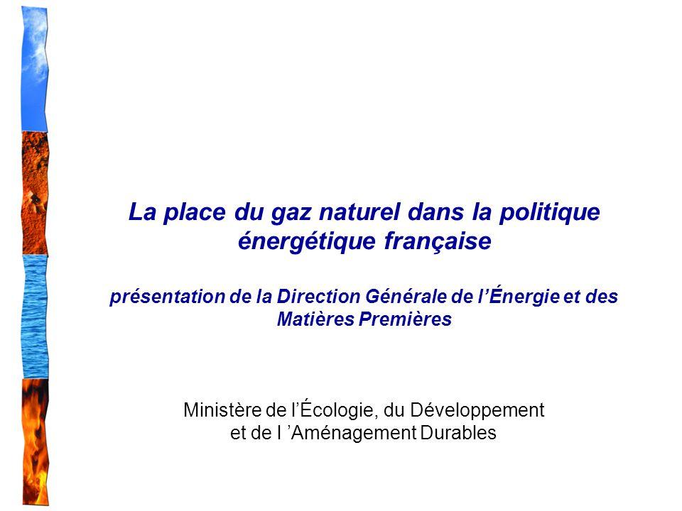 La place du gaz naturel dans la politique énergétique française présentation de la Direction Générale de l'Énergie et des Matières Premières Ministère de l'Écologie, du Développement et de l 'Aménagement Durables