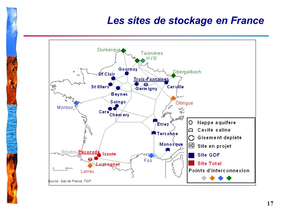 Les sites de stockage en France