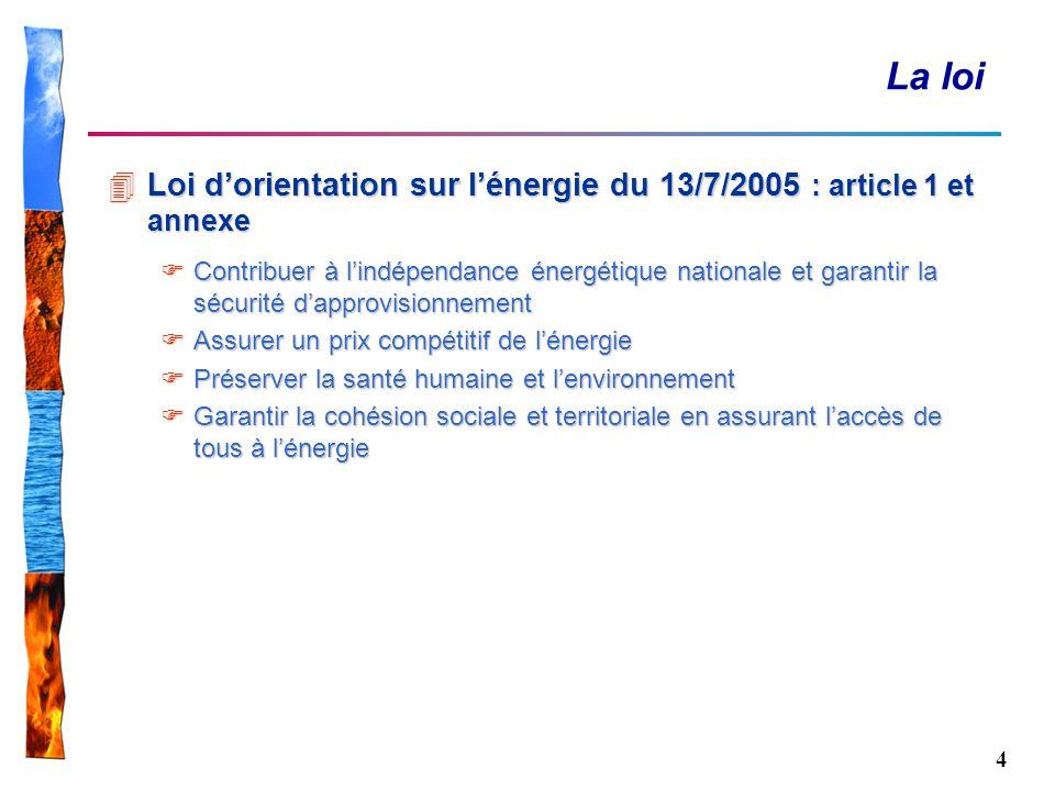 La loi Loi d'orientation sur l'énergie du 13/7/2005 : article 1 et annexe.
