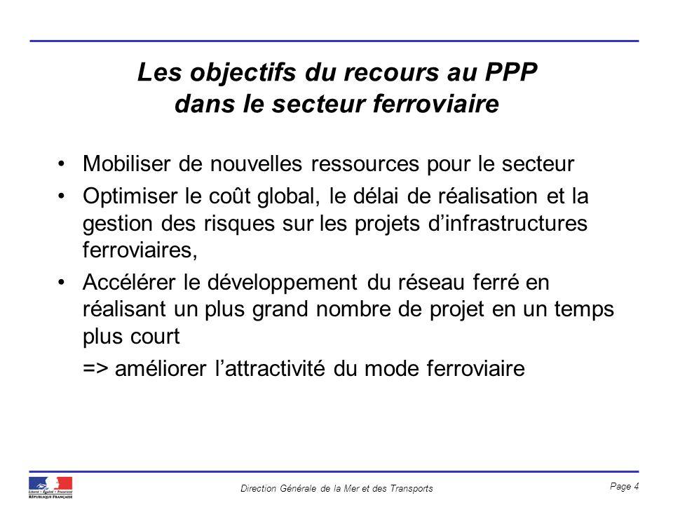 Les objectifs du recours au PPP dans le secteur ferroviaire