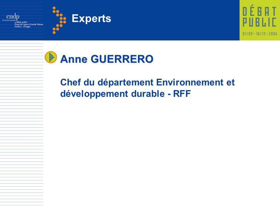 Experts Anne GUERRERO Chef du département Environnement et développement durable - RFF