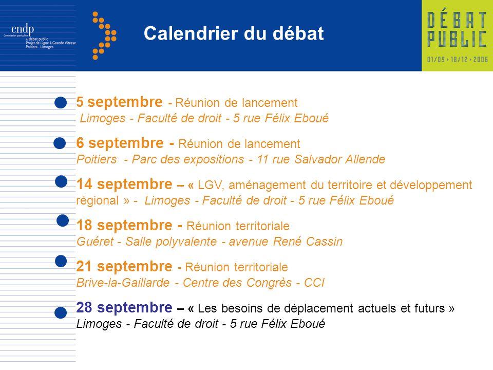 Calendrier du débat 6 septembre - Réunion de lancement