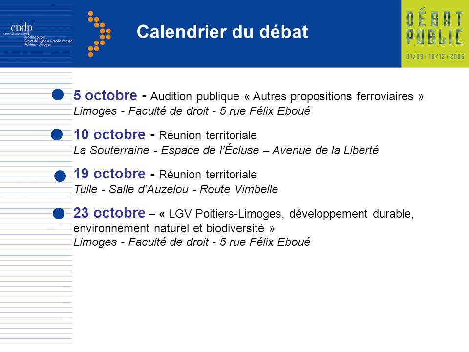 Calendrier du débat 5 octobre - Audition publique « Autres propositions ferroviaires » Limoges - Faculté de droit - 5 rue Félix Eboué.
