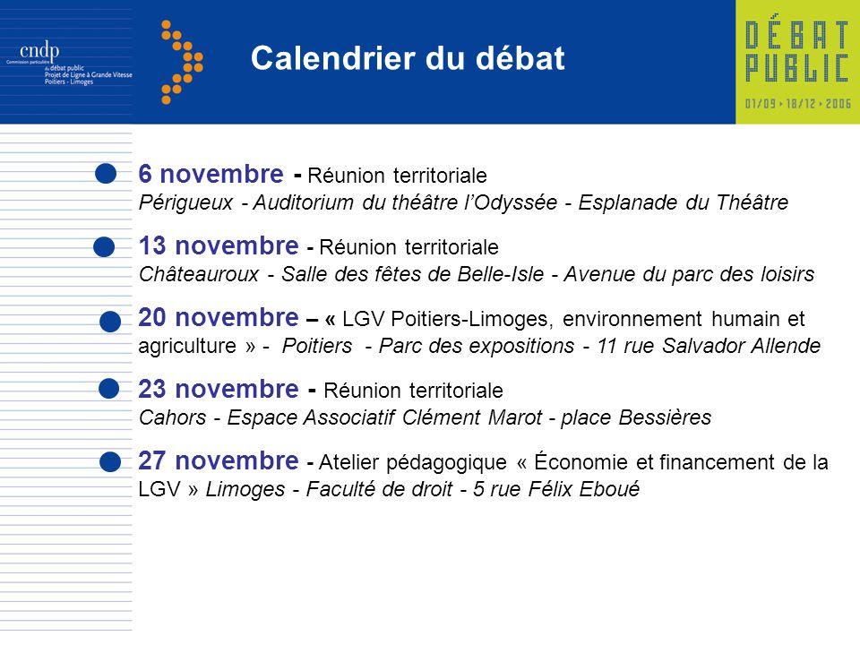 Calendrier du débat 6 novembre - Réunion territoriale