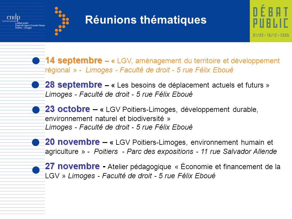 Réunions thématiques 14 septembre – « LGV, aménagement du territoire et développement régional » - Limoges - Faculté de droit - 5 rue Félix Eboué.