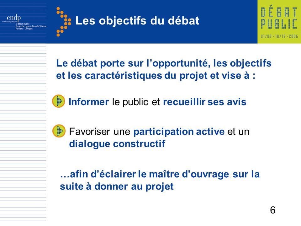 Les objectifs du débat Le débat porte sur l'opportunité, les objectifs et les caractéristiques du projet et vise à :